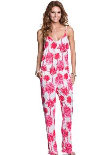 Pink beach playsuit with palm trees - KIR ROYALE