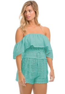 Off-shoulder blue beach playsuit - IBIZA SEA