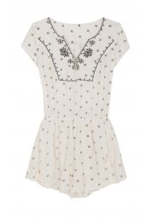White beach playsuit with embroidered patterns - MILOS