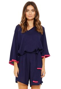 Navy beach romper with sleeves - BERTA MARINHO