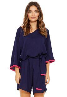 Пляжное платье темно-синего цвета с рукавами- BERTA MARINHO
