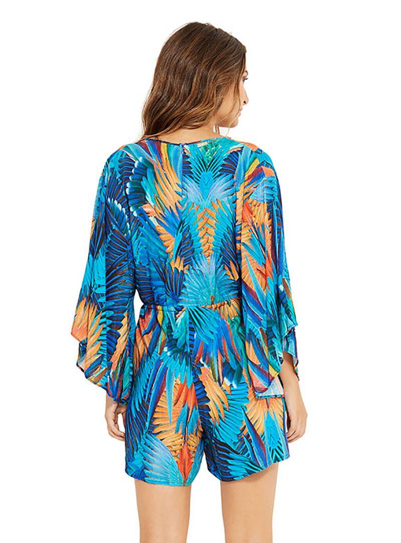 Blåmönstradstrandklänning med ärmar - EQUILIBRIO ARARUNA