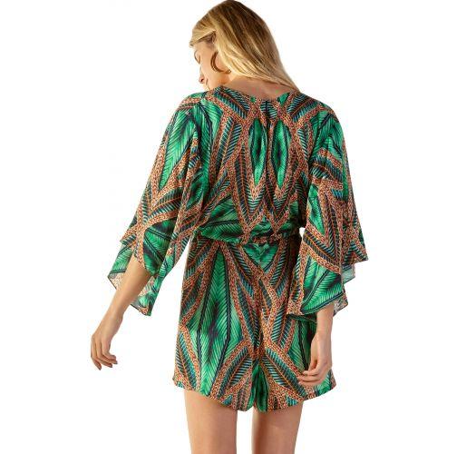 Green tropical romper with kimono sleeves - EQULIBRIO TAI