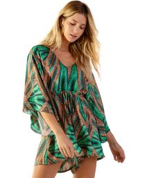 Green tropical romper with kimono sleeves - EQULIBRIO TAI