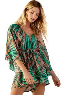 Tropisch groene combishort met kimono-mouwen - EQULIBRIO TAI