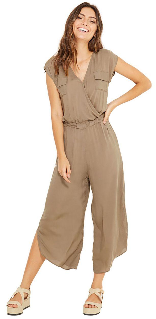 Khakifärgad 7/8 dress med bröstfickor - INES VERDE