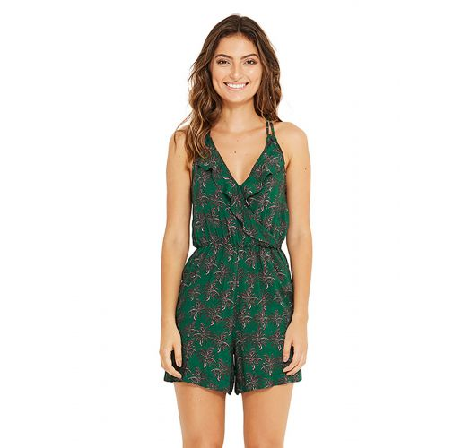 Green beach romper in palm trees - MACAQUINHO COQUI