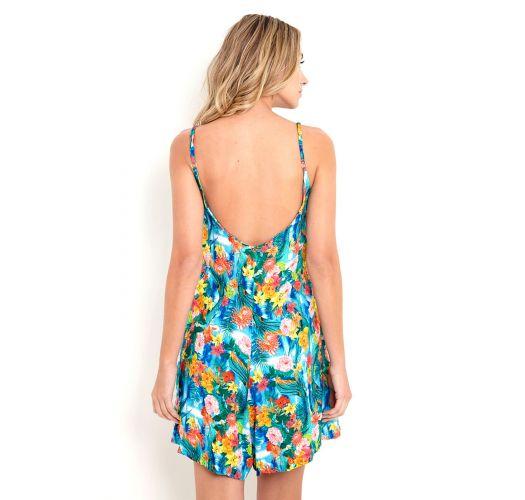Loose tropical floral beachplay suit - MACAQUINHO MANU