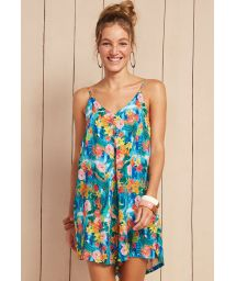 Loose tropical floral beach play suit  - MACAQUINHO MANU