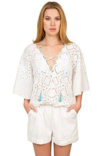 קומבישורט (מכנסרבל) צבע לבן עם רקמה ושרוכי קשירה - ELEGANCIA RENDA
