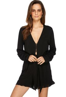 Black long-sleeved fluid romper shorts - AMOR SELVAGEM