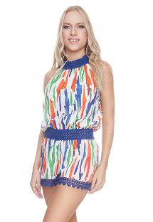 Luxurious beach romper with a colorful print - HAILEY ROMPER PAINTING