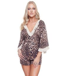 Luxurious beach romper in brown leopard print - JORDIN CHEETAH BROWNIE