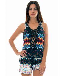 Printed beach mini-dress with guipure lace neckline - ROMPER GUIPIR