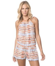 Printed playsuit, sliding collar - TRIBAL ROMPER