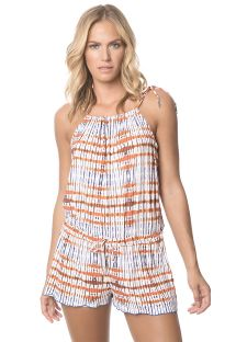 Combishort imprimé, encolure coulissante - TRIBAL ROMPER