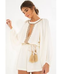 Long-sleeved combishorts with pearls - CHIC EMBROIDERED ROMPER