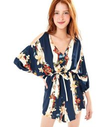 Navy playsuit with open shoulders - MACAQUINHO CAMINHO ENCANTADO