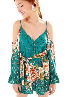 Green printed belted beach jumpsuit - MACAQUINHO LIANA VERDE