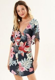Buttoned romper in tropical flowers - MACAQUINHO MARAGOGI