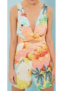 Sleeveless tropical pastel print playsuit - MACAQUINHO MAXI FILIPINAS