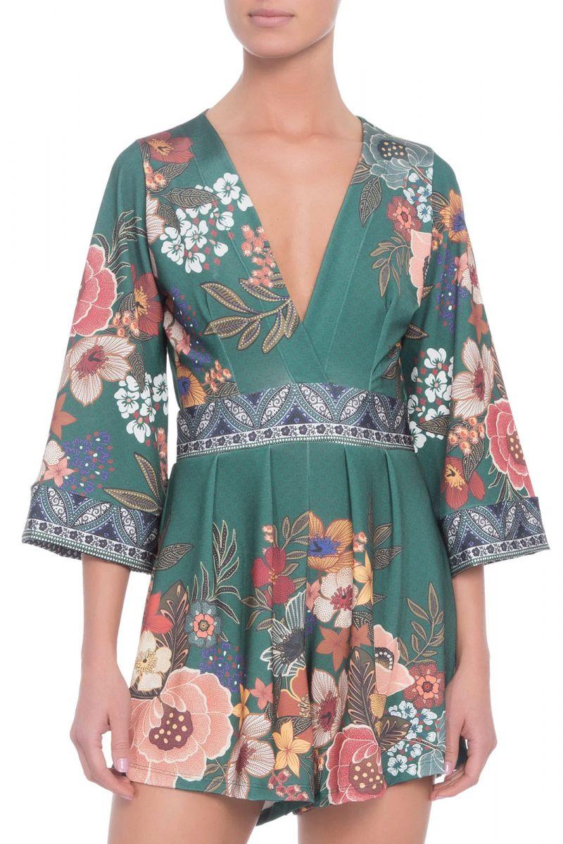 3/4 sleeve dark green floral playsuit - MACAQUINHO ML FLORAL BONGO