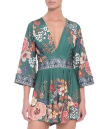 3/4 sleeve dark green floral playsuit - MACAQUINHO ML FLORAL BONGO