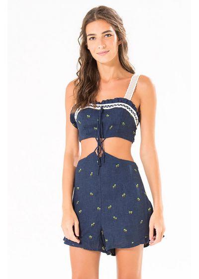 Marinblå shortsdress med palmmotiv- MACAQUINHO PALMERINA