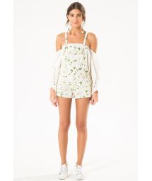 Floral white dungaree-style romper shorts - MAXI FLOWERS JUMPER