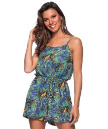 Beach romper in colorful tropical print - MACAQUINHO ARARA AZUL