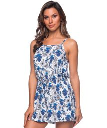Beach romper in blue and white floral print - MACAQUINHO ATOBA