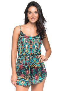 Colorful beach romper with a waist tie - BOXER MOSAIC