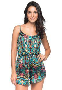 סרבל חצאית (רומפר) צבעוני לחוף הים עם עניבת מותניים - BOXER MOSAIC