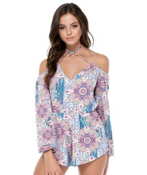 Long sleeved playsuit with crossover straps - AZUCAR LONG SLEEVE ROMPER