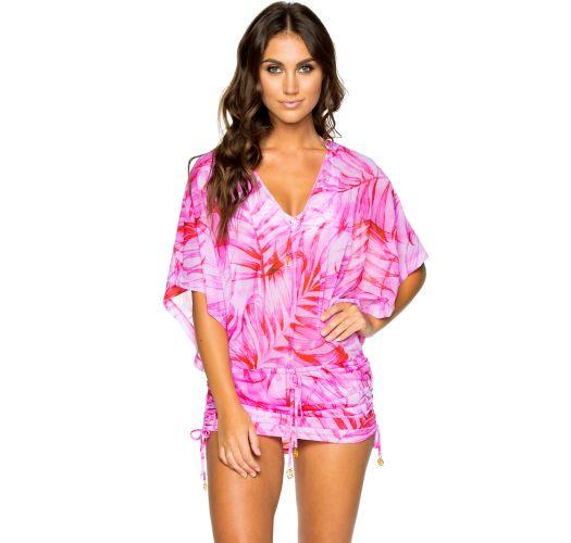 Beach mini dress with wide sleeves - pink leaves print - CABANA BAMBOLEO