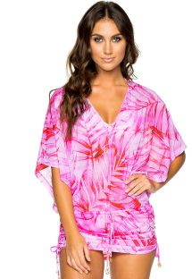 Beach mini dress with wide sleeves - pink leaves print - CABANA BAMBOLEO