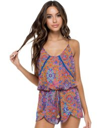 Printed beach romper with crochet detail - CANDELA STITCHED ROMPER