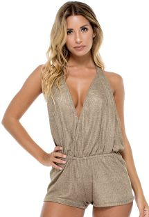 Iridescent bronze romper shorts plunging neckline and open back - COMPAI ROMPER