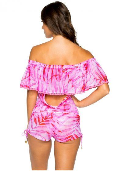 Off shoulder pink beach short jumpsuit - DRIFTED BAMBOLEO