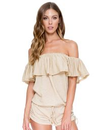 Gold off shoulder combishorts with large flouncing - DRIFTER ROMPER GOLD