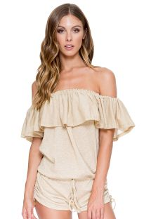Gyldenbrun off-shoulder playsuit med stor flæse - DRIFTER ROMPER GOLD