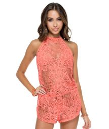 Coral openwork backless beach playsuit - GUAGUANCO BACKLESS ROMPER