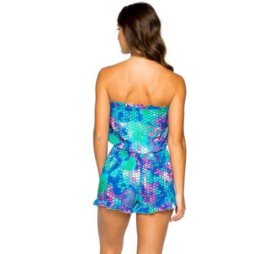 Beach short jumpsuit - mermaid print - RUFFLE SIRENAS