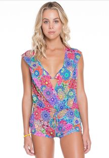 Printed wrap front playsuit with hood - SUNBURST