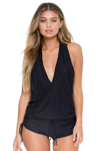 Black short combishorts low plunge and racer back - T-BACK ROMPER BLACK