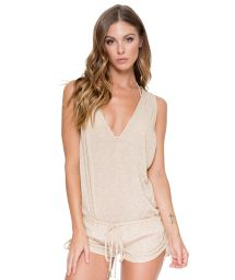 Short gold combishorts low plunge and racer back - T-BACK ROMPER GOLD