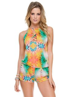Tropical beach rompers with multi-strap neckline - TROPICAL ROMPER