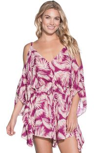 Burgundy palm leaf print romper - RED SEASHELLS