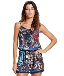 Printed blue playsuit with fringed edges - AGUAS MARINHAS