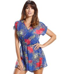 Flowing, loose-fit playsuit, crossover plunge line - FLOR VERMELHA